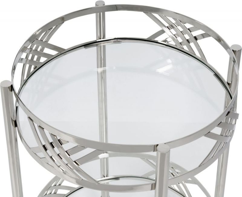 Serene Gangtok Clear Tempered Glass and Nickel Trolley