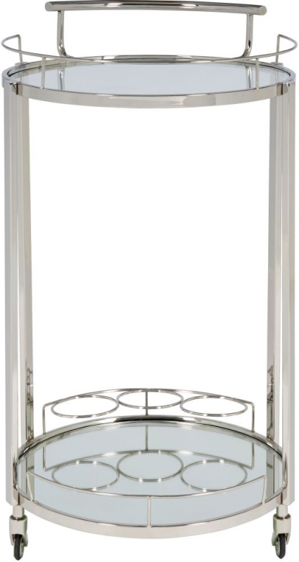 Serene Pali Clear Tempered Glass and Nickel Trolley with 3 Bottle Holder