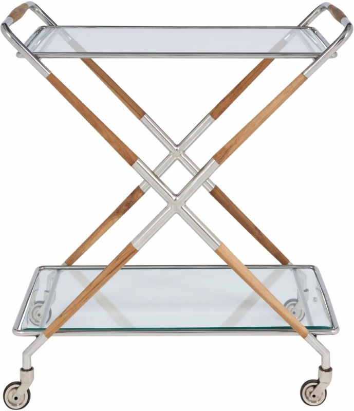 Serene Aizawl Clear Tempered Glass and Nickel Trolley with Teak Wood