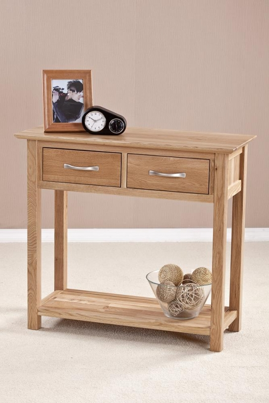 Buy milano solid oak console table drawer online cfs uk