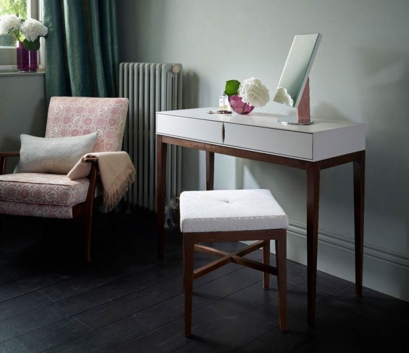 Clearance Half Price - Stratford Off White and Walnut Upholstered Stool - New - FS163