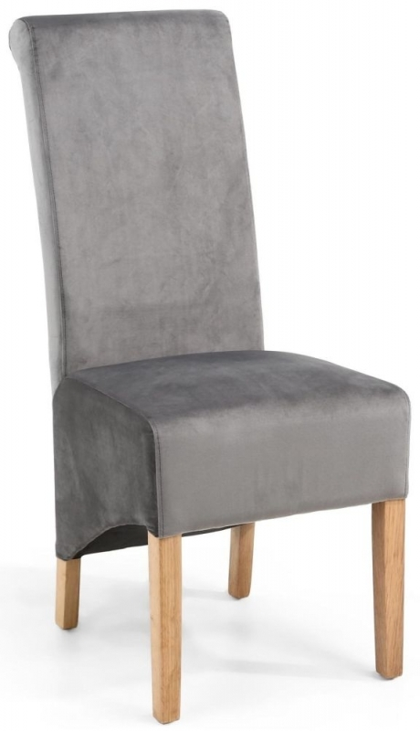 Clearance Half Price - Shankar Krista Grey Brushed Velvet Scroll Back Fabric Accent Dining Chair (Pair) - New - FS150