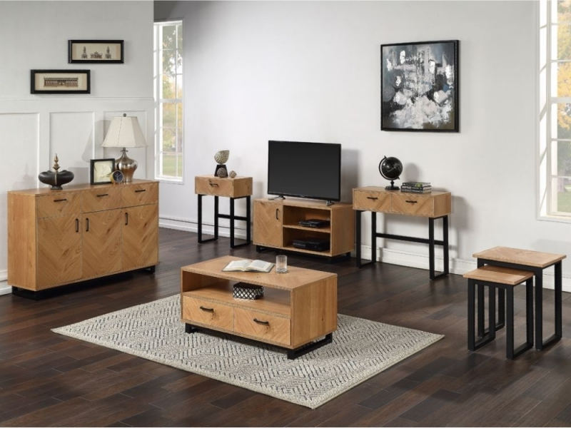 Clearance Half Price - Panama Oak Nest of 2 Tables - New - FS161