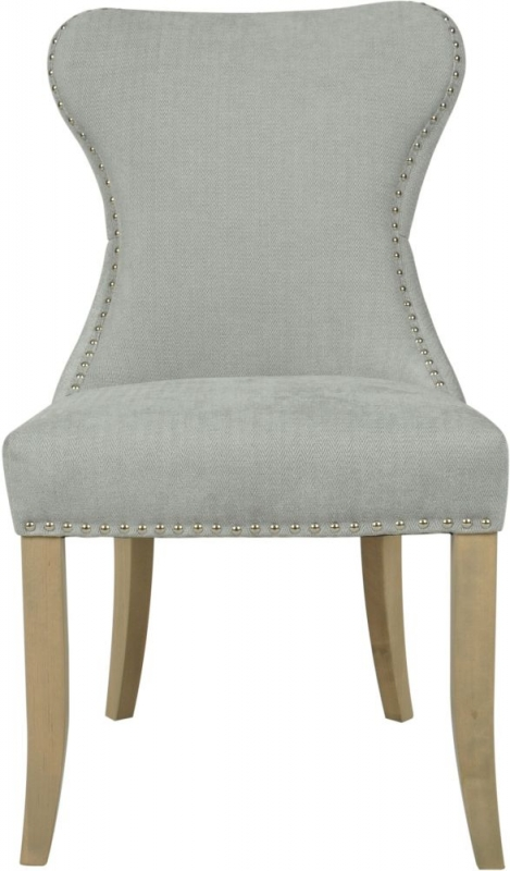 Honfleur Button Back Grey Fabric Dining Chair (Pair)