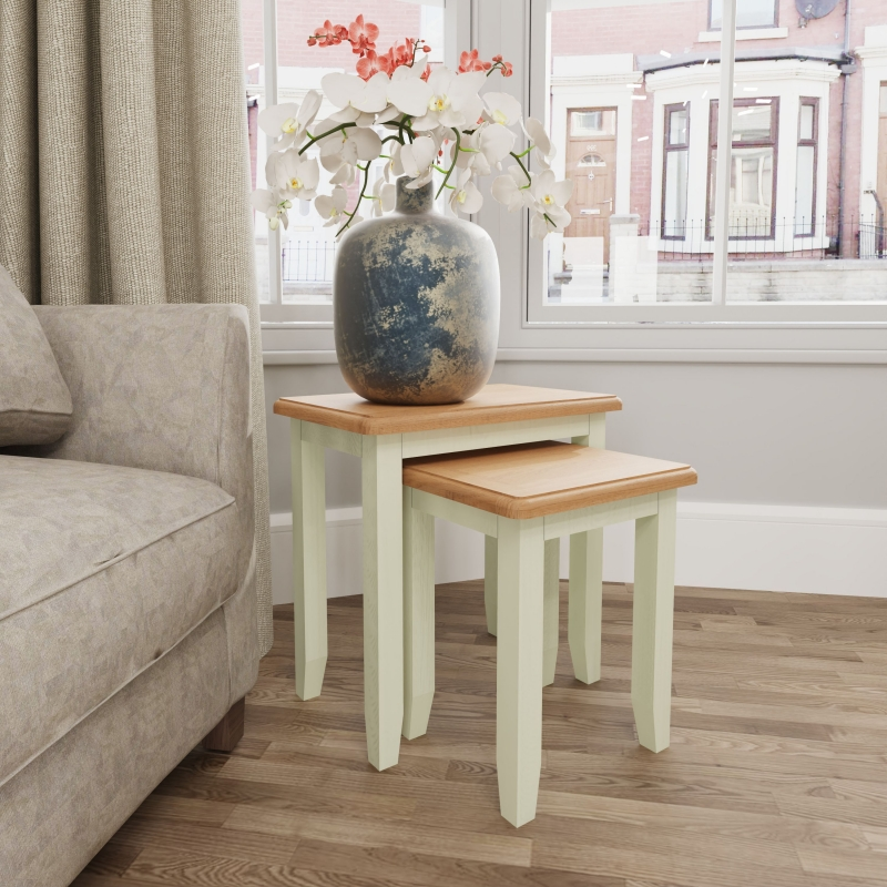 Graceton Oak and White Painted Nest of 2 Tables