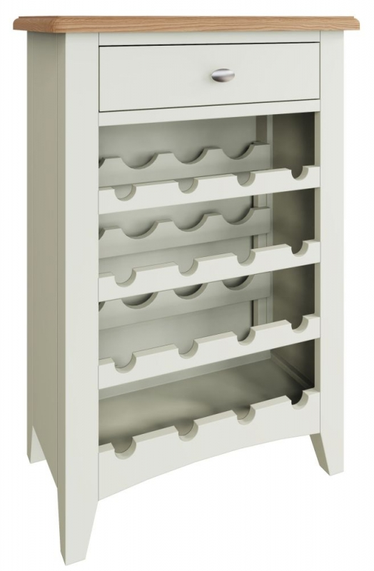 Graceton Oak and White Painted Wine Cabinet