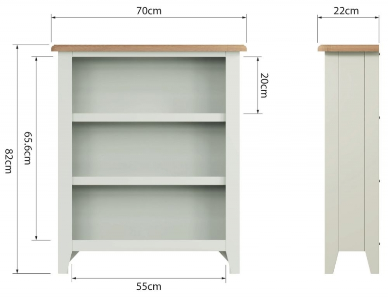 Graceton Oak and White Painted Small Bookcase