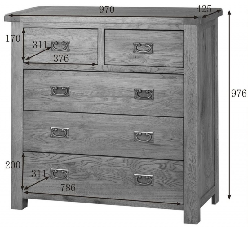 Country Oak Chest of Drawer - 3+2 Drawer