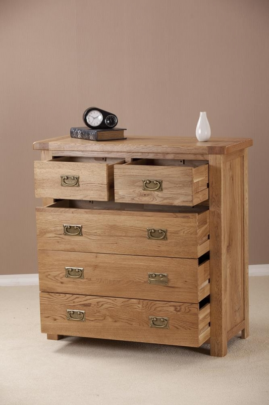 Country Oak 3+2 Drawer Chest