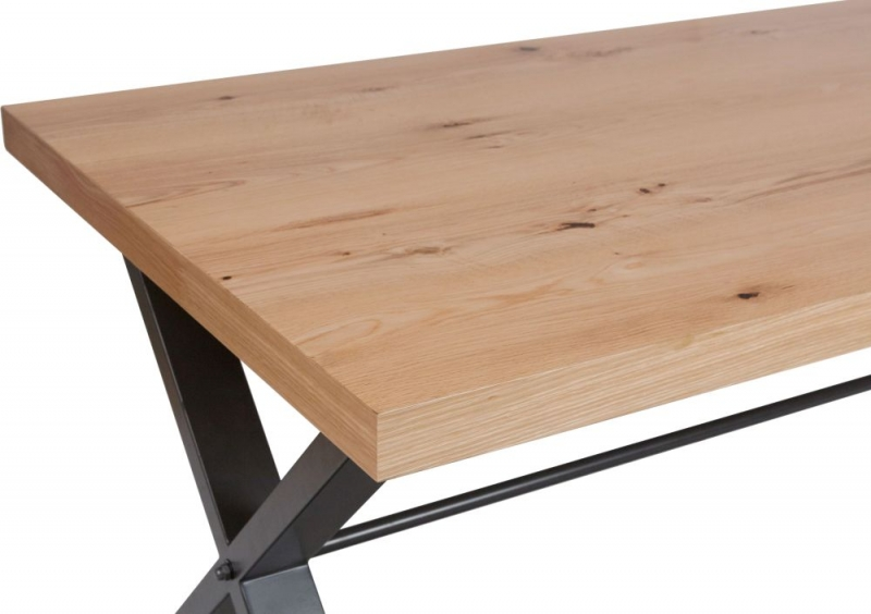 Inkster Industrial Oak and Metal 180cm Dining Table