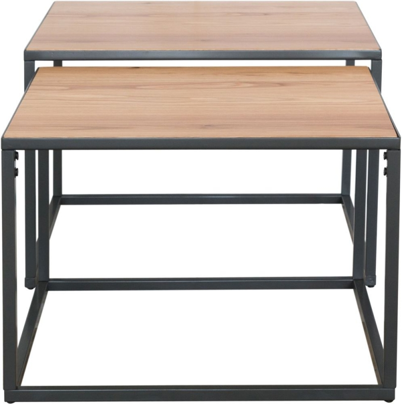 Inkster Industrial Oak and Metal Square Nest of 2 Coffee Tables