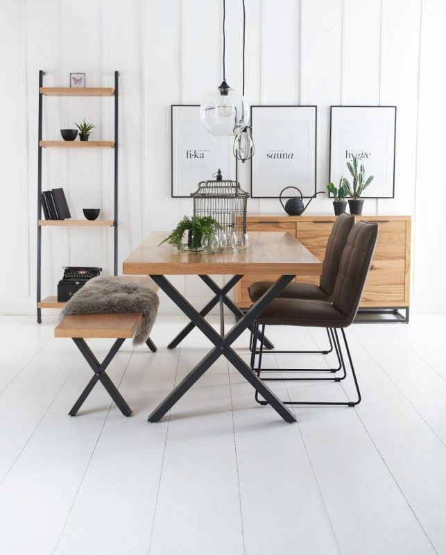 Inkster Industrial Oak and Metal 130cm Dining Bench
