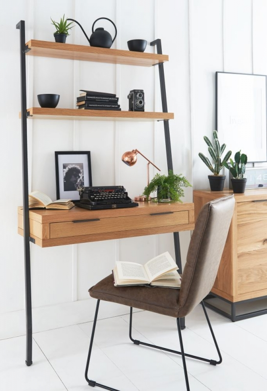 Inkster Industrial Oak and Metal Desk Bookcase
