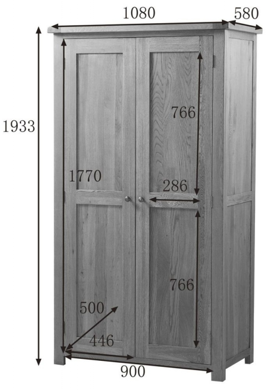 Country Oak Wardrobe - 2 Door Ladies