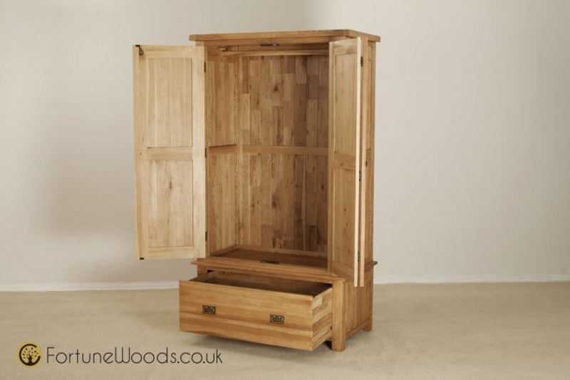 Country Oak Wardrobe - 2 Door 1 Drawer Gents