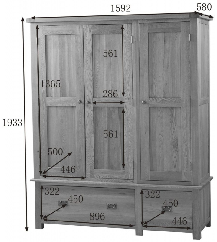 Country Oak Wardrobe - 3 Door 2 Drawer
