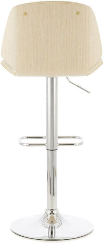 Serene Fabio Cream Faux Leather and Oak Swivel Bar Stool