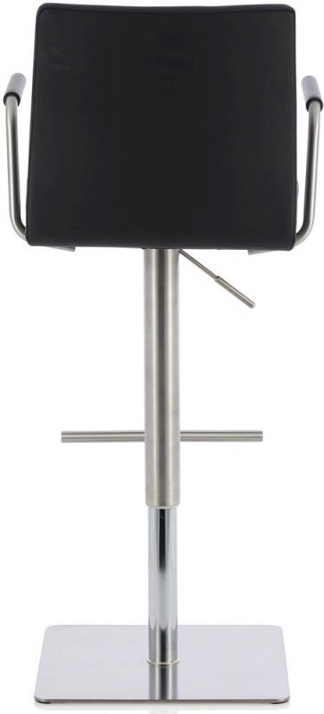 Serene Jonquil Black Faux Leather Swivel Bar Stool