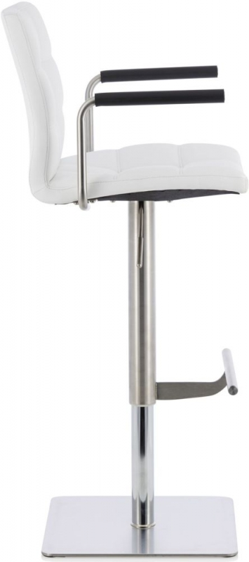 Serene Jonquil White Faux Leather Swivel Bar Stool