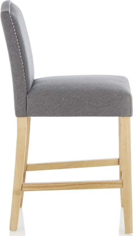 Serene Larch Grey Fabric Barstool with Oak Legs (Set of 2)
