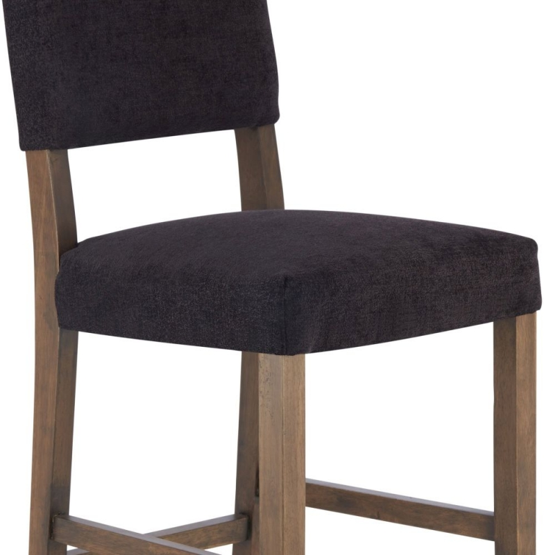 Serene Linnaea Aubergine Fabric Barstool with Walnut Legs (Set of 2)