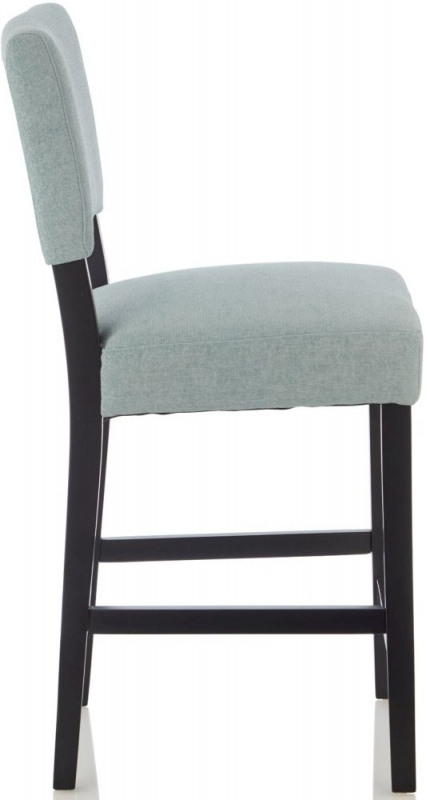 Serene Linnaea Duck Egg Fabric Barstool with Black Legs (Set of 2)