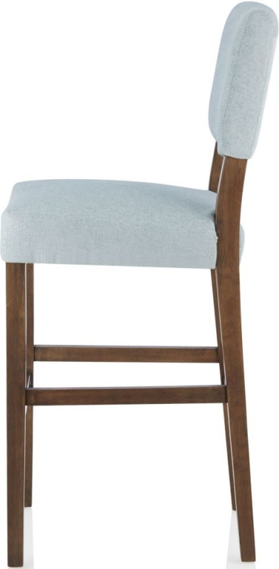 Serene Linnaea Duck Egg Fabric Barstool with Walnut Legs (Set of 2)