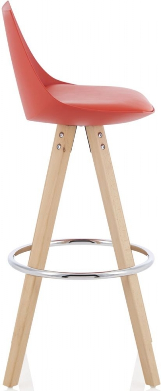 Serene Lotus Red Barstool with Oak Legs (Set of 2)