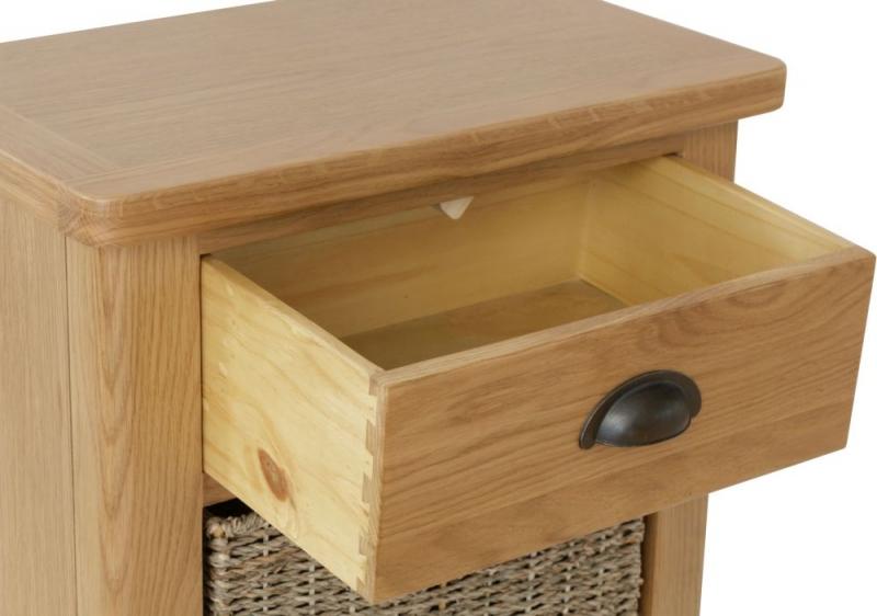 Hampton Rustic Oak 1 Drawer 2 Basket Unit