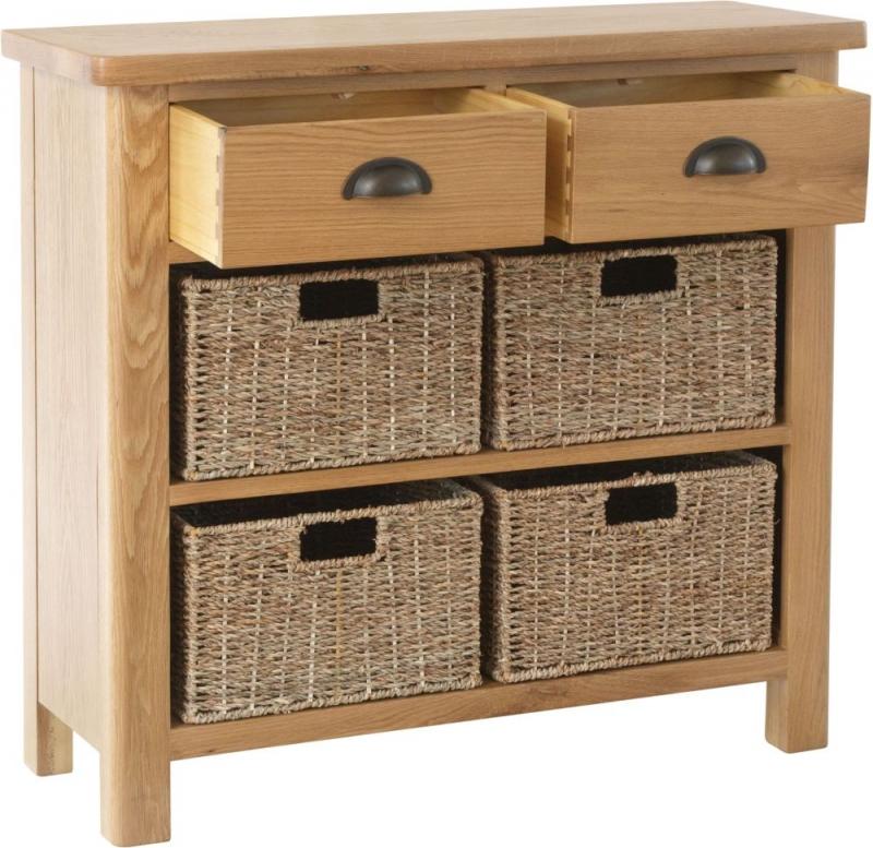 Hampton Rustic Oak 2 Drawer 4 Basket Unit