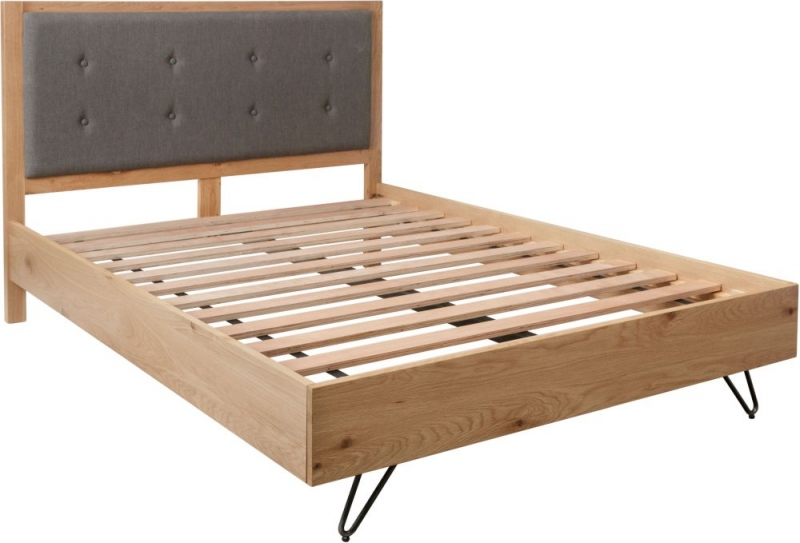 Calgary Rustic Oak and Metal Bed
