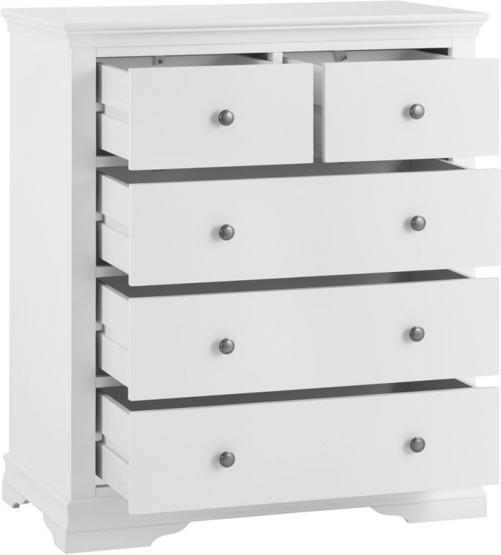 Chantilly White Painted 2+3 Drawer Chest