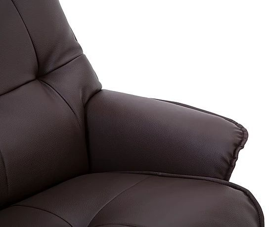 GFA Palmera Swivel Recliner Chair with Footstool - Brown Fabric