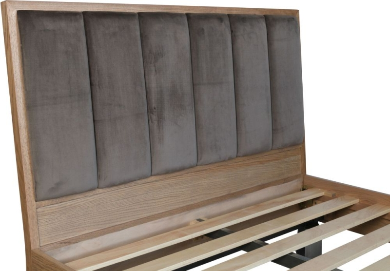Chevron Oak and Metal Bed