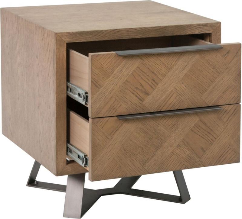 Chevron Oak and Metal Bedside Cabinet