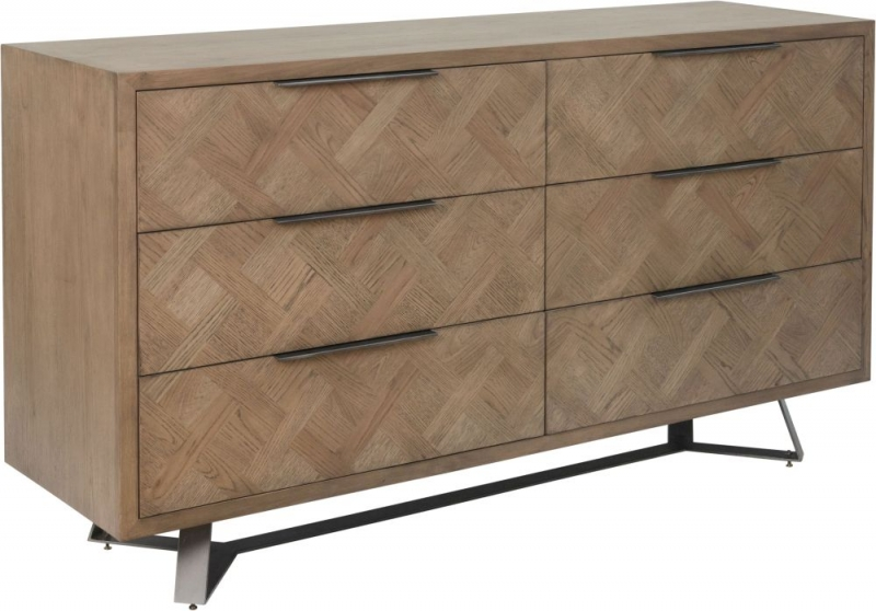 Chevron Oak and Metal 6 Drawer Chest