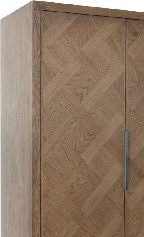 Chevron Oak and Metal 2 Door Wardrobe