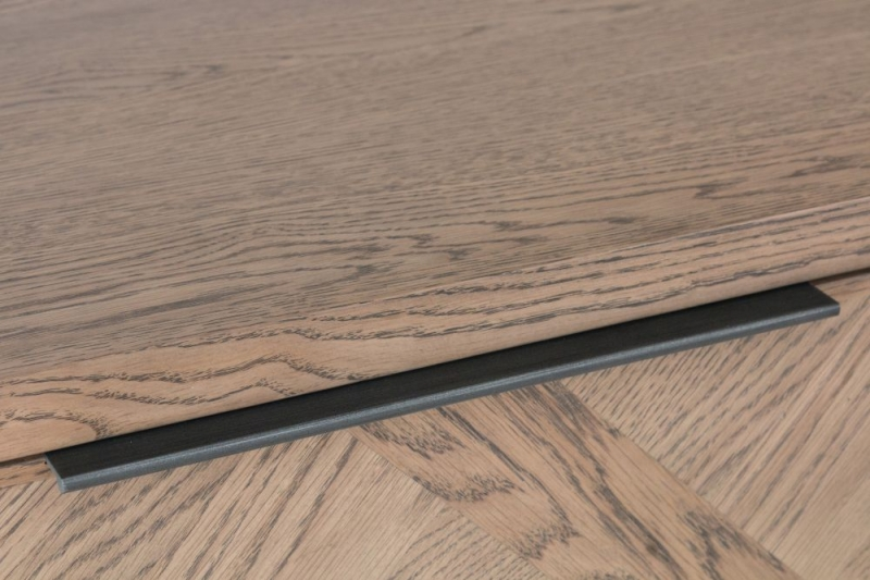 Chevron Oak and Metal 2 Door Sideboard