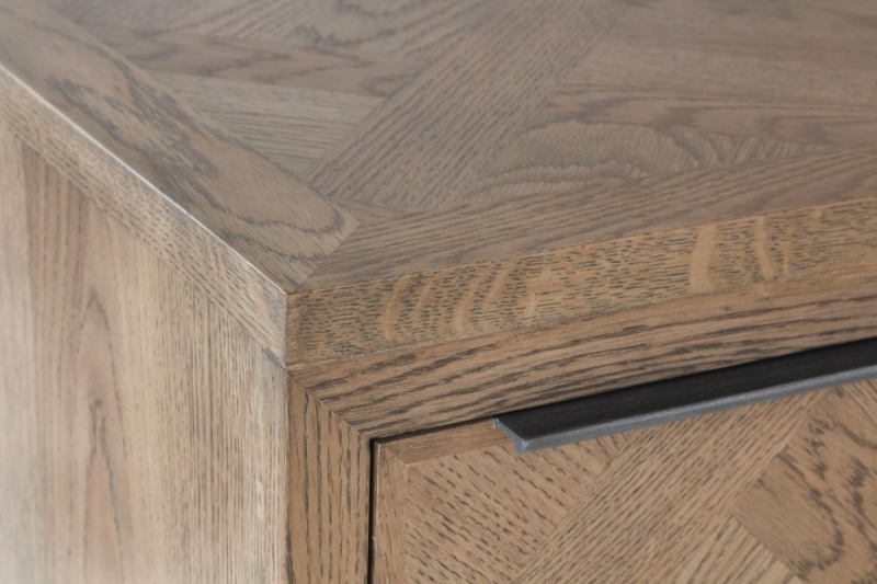 Chevron Oak and Metal Desk