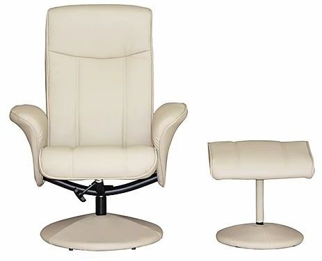 GFA Siena Swivel Recliner Chair with Footstool - Cafe Latte Faux Leather