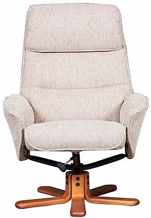GFA Amalfi Swivel Recliner Chair with Footstool - Stone Faux Leather