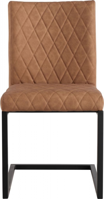 Diamond Stitch Tan Faux Leather Dining Chair (Pair)