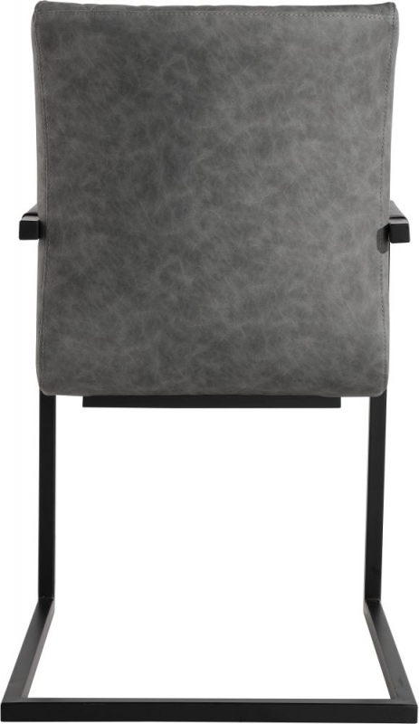 Diamond Stitch Carver Grey Faux Leather Dining Chair (Pair)