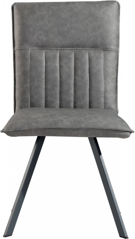 Grey Faux Leather Dining Chair (Pair)