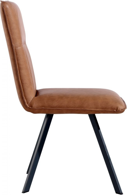 Tan Faux Leather Dining Chair (Pair)