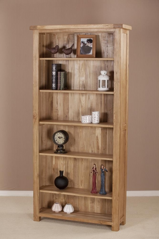Country Oak Tall Wide Bookcase