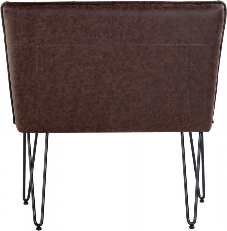 Studded Back 90cm Brown Faux Leather Bench