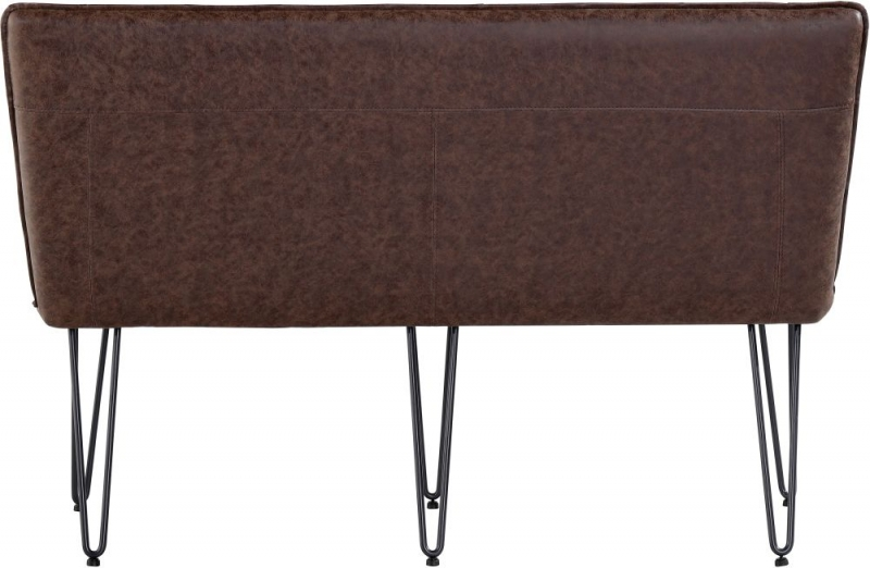 Studded Back 140cm Brown Faux Leather Bench