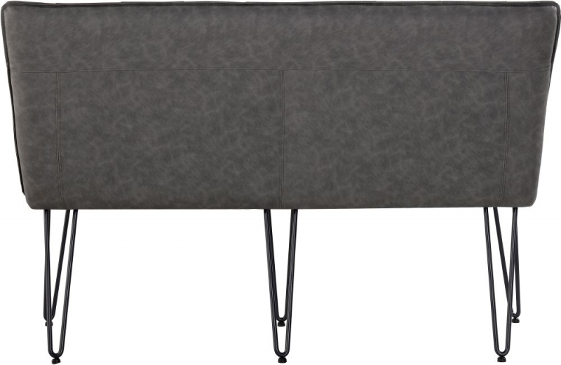 Studded Back 140cm Grey Faux Leather Bench