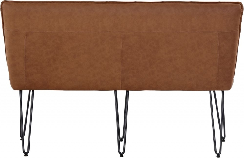 Studded Back 140cm Tan Faux Leather Bench